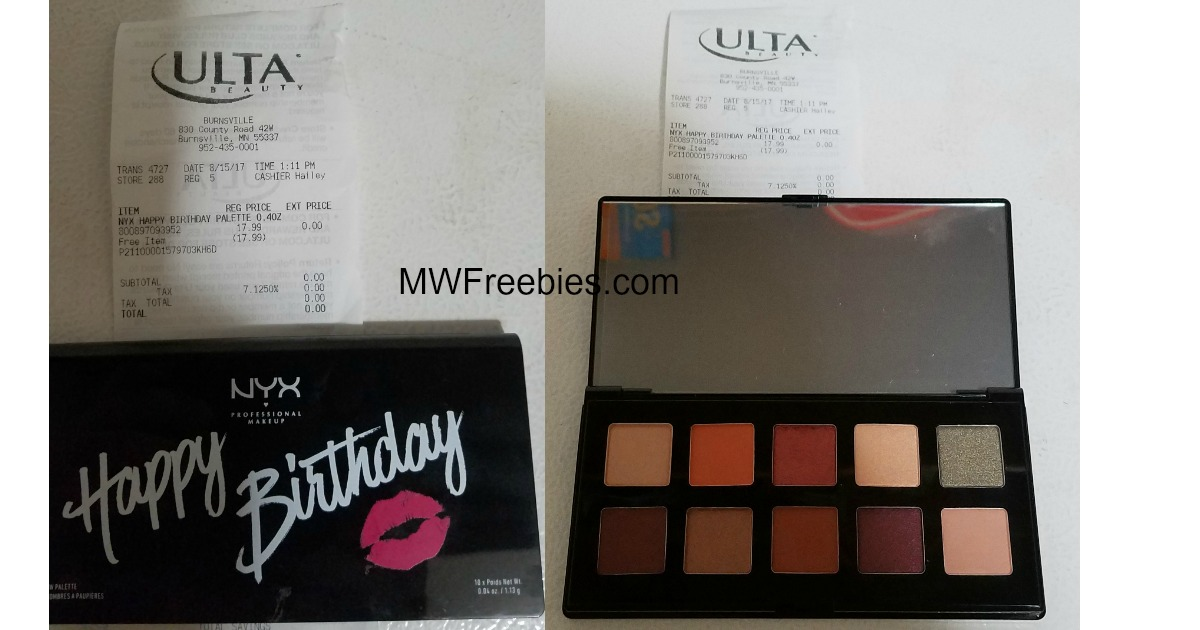 WOW! FREE NYX Birthday Palette from Ulta for September Birthdays ...