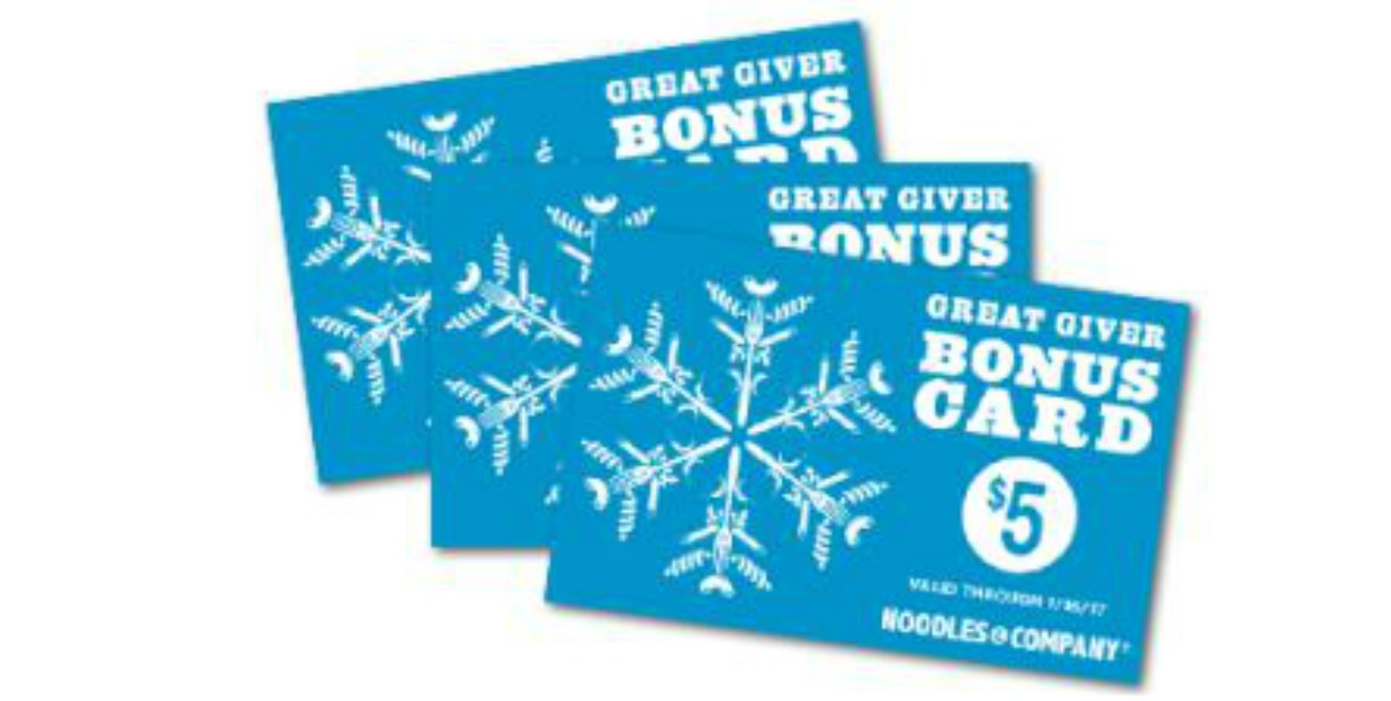 Buy A $25 Noodles & Company Gift Card & Get A $5 Bonus Gift Card ...
